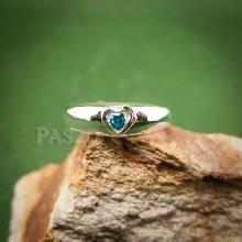 แหวนเงินพลอยสีฟ้า โทพาซ  แหวนเงินรูปหัวใจ ฝังพลอยสีฟ้า แหวนพลอยสีฟ้า