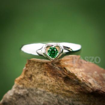แหวนพลอยสีเขียว แหวนเงิน แหวนรูปหัวใจ #2