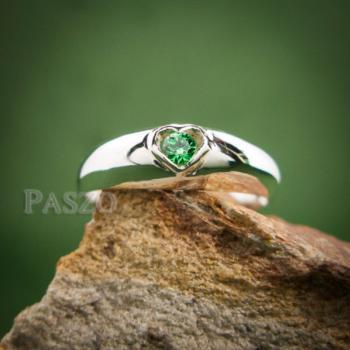 แหวนพลอยสีเขียว แหวนเงิน แหวนรูปหัวใจ #3