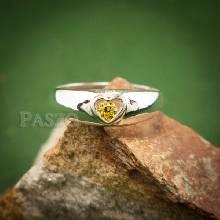 แหวนสีเหลือง บุษราคัม แหวนเงิน หัวใจ พลอยสีเหลือง แหวนเงินแท้