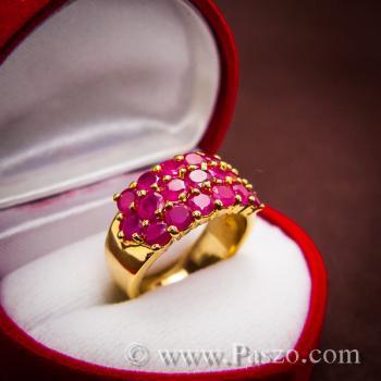 แหวนพลอยทับทิม แหวนทอง ฝังพลอยสีแดง #2