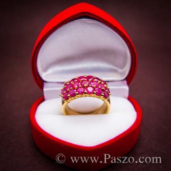 แหวนพลอยทับทิม แหวนทอง ฝังพลอยสีแดง #3