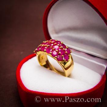 แหวนพลอยทับทิม แหวนทอง ฝังพลอยสีแดง #4