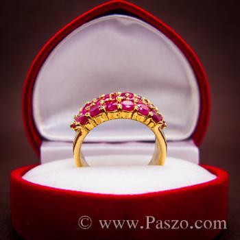 แหวนพลอยทับทิม แหวนทอง ฝังพลอยสีแดง #5