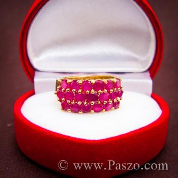 แหวนพลอยทับทิม แหวนทอง ฝังพลอยสีแดง #6