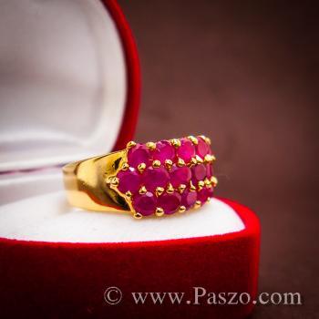 แหวนพลอยทับทิม แหวนทอง ฝังพลอยสีแดง #7