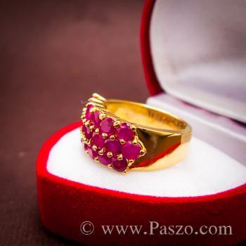 แหวนพลอยทับทิม แหวนทอง ฝังพลอยสีแดง #8