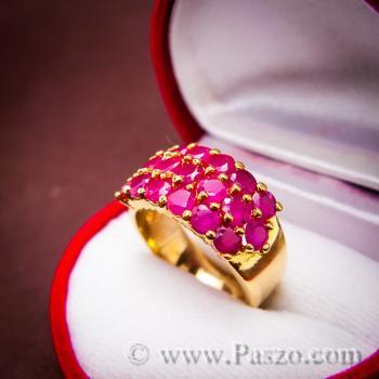 แหวนพลอยทับทิม แหวนทอง ฝังพลอยสีแดง #9