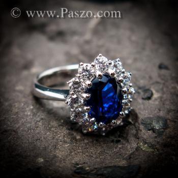 แหวนพลอยไพลิน แหวนพลอยสีน้ำเงิน หนามเตยถี่ #5