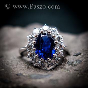 แหวนพลอยไพลิน แหวนพลอยสีน้ำเงิน หนามเตยถี่ #6