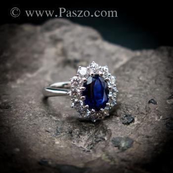 แหวนพลอยไพลิน แหวนพลอยสีน้ำเงิน หนามเตยถี่ #9