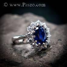 แหวนพลอยไพลิน แหวนพลอยสีน้ำเงิน หนามเตยถี่ ล้อมเพชร แหวนเงินแท้