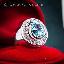 แหวนผู้ชาย แหวนพลอยโทพาซ สีฟ้า ล้อมรอบด้วยเพชร  แหวนเงินผู้ชายพลอยสีฟ้า แหวนเงินแท้