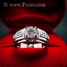 แหวนเพชร แหวนผู้ชายเงินแท้ ฝังเพชร แหวนขนาดกลาง แหวนผู้ชาย