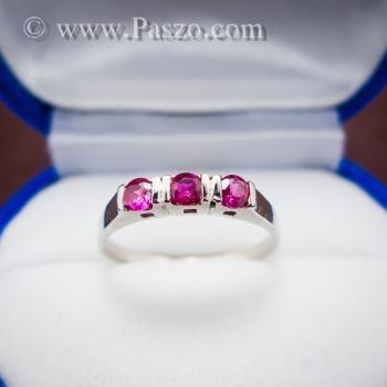 แหวนทับทิม 3เม็ด แหวนเงินแท้ #2