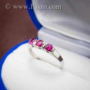 แหวนทับทิม 3เม็ด แหวนเงินแท้ #3