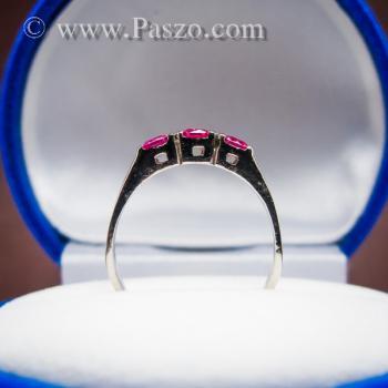 แหวนทับทิม 3เม็ด แหวนเงินแท้ #4