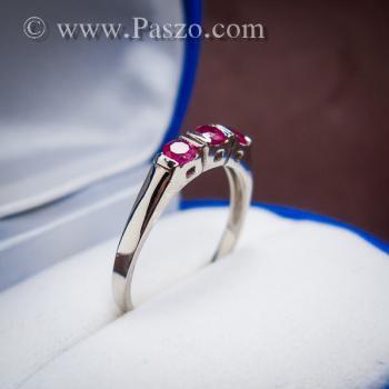 แหวนทับทิม 3เม็ด แหวนเงินแท้ #5