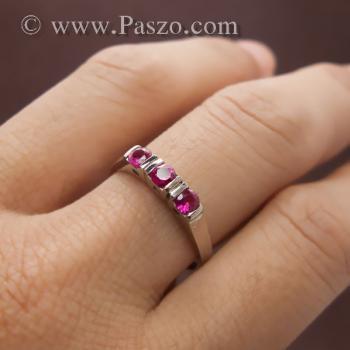 แหวนทับทิม 3เม็ด แหวนเงินแท้ #6