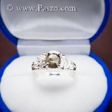 แหวนพลอยแบล็คสตาร์ พลอยสีดำ ประดับเพชร แหวนเงินแท้