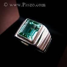 แหวนมรกต แหวนผู้ชาย พลอยมรกต พลอยสีเขียว เม็ดสี่เหลี่ยม แหวนเงินแท้ 925