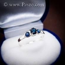 แหวนพลอยไพลิน พลอยสีน้ำเงิน ตัวเรือนเงินแท้ 925 แหวนเงินฝังพลอยไพลิน