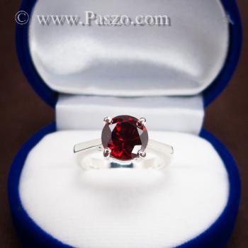 แหวนพลอยโกเมน สีแดงแก่ก่ำ พลอยสีส้มเข้ม #2