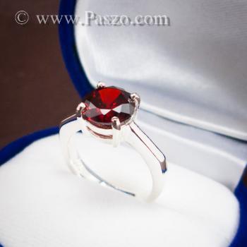 แหวนพลอยโกเมน สีแดงแก่ก่ำ พลอยสีส้มเข้ม #4