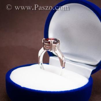 แหวนพลอยโกเมน สีแดงแก่ก่ำ พลอยสีส้มเข้ม #9