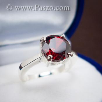 แหวนพลอยโกเมน สีแดงแก่ก่ำ พลอยสีส้มเข้ม #6