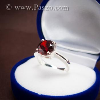 แหวนพลอยโกเมน สีแดงแก่ก่ำ พลอยสีส้มเข้ม #7