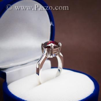 แหวนพลอยโกเมน สีแดงแก่ก่ำ พลอยสีส้มเข้ม #8