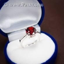 แหวนพลอยโกเมน สีแดงแก่ก่ำ พลอยสีส้มเข้ม แหวนเงินแท้ ฝังพลอยโกเมน