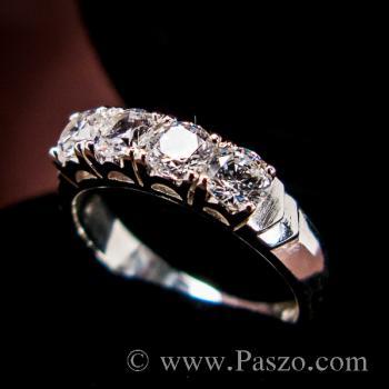 แหวนเพชร 4เม็ด แหวนเงินแท้ #2