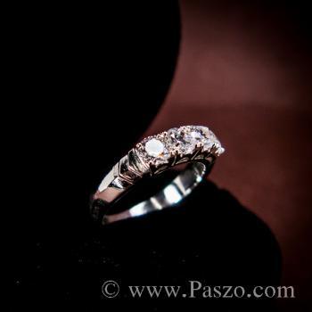 แหวนเพชร 4เม็ด แหวนเงินแท้ #3