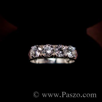 แหวนเพชร 4เม็ด แหวนเงินแท้ #5