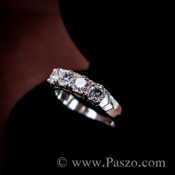 แหวนเพชร 4เม็ด แหวนเงินแท้ #6