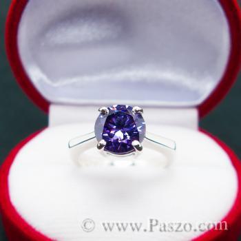 แหวนพลอยสีม่วง อะเมทิสต์ แหวนเงินแท้ #2