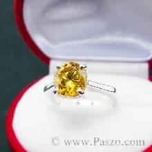 แหวนเงินแท้ ฝังพลอยบุษราคัม พลอยสีเหลือง  แหวนพลอยสีเหลือง