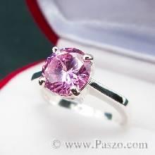 แหวนพลอยสีชมพู แหวนเงินแท้ พิงค์โทพาซ แหวนเงิน ฝังพลอยสีชมพู เม็ดกลม เม็ดเดี่ยว