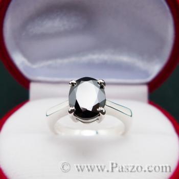 แหวนนิล แหวนเงินแท้ พลอยเม็ดเดี่ยว #2