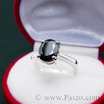 แหวนนิล แหวนเงินแท้ พลอยเม็ดเดี่ยว #3