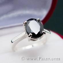 แหวนนิล แหวนเงินแท้ พลอยเม็ดเดี่ยว