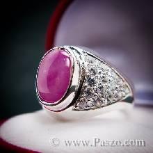 แหวนทับทิม แหวนผู้ชาย บ่าฝังเพชร แหวนผู้ชายเงินแท้ ฝังพลอยทับทิม