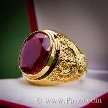 แหวนทับทิม แหวนทอง90 ลายพญาครุฑ แหวนผู้ชายทองแท้ ฝังพลอยทับทิม สีแดง แหวนครุฑ