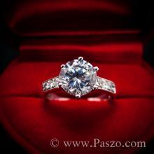 แหวนเพชร แหวนเงิน หนามเตย6จุด แหวนเงินฝังเพชร