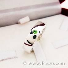 แหวนพลอยมรกต แหวนเงินเกลี้ยง กว้าง6มิล พลอยมรกต พลอยสีเขียว