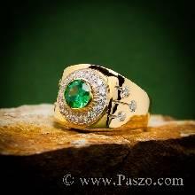 แหวนผู้ชายทอง แหวนผู้ชายมรกต ฝังพลอยมรกต ล้อมเพชร แหวนผู้ชายพลอยสีเขียว