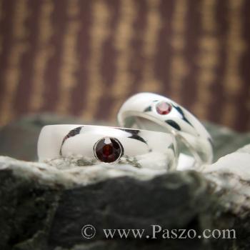 ชุดแหวนคู่ แหวนเกลี้ยงหน้าโค้ง ฝังพลอยโกเมน #2