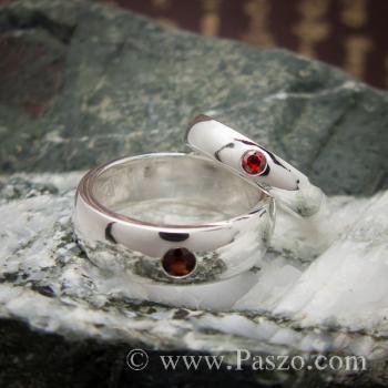 ชุดแหวนคู่ แหวนเกลี้ยงหน้าโค้ง ฝังพลอยโกเมน #3